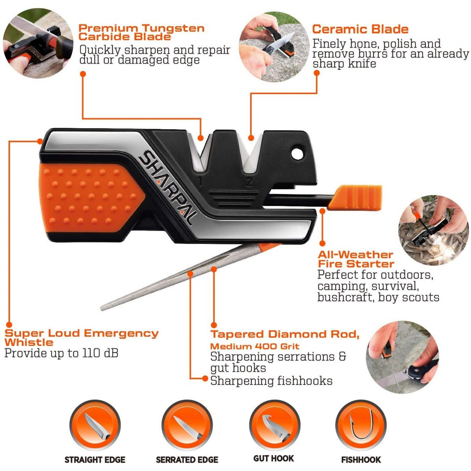 SHARPAL 101N 6-in-1 Pocket Knife Sharpener & Survival Tool, with Fire Starter, Whistle & Diamond Sharpening Rod, Quickly Repair, Restore and Hone Straight and Serrated Blade