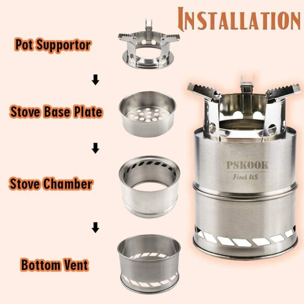 PSKOOK Camping Wood Stove Portable Camp Stove Folding Lightweight Stainless Steel Stove Wood Burning Backpacking Stove Picnic BBQ Hiking