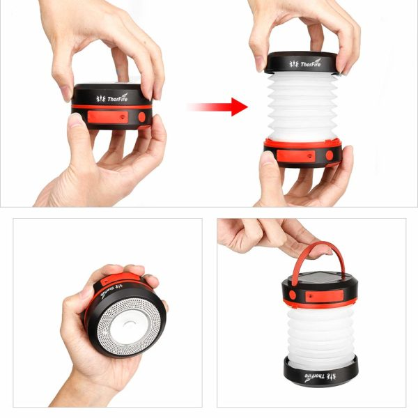 Collapsible Led Camping Lantern w/ Rechargeable Battery (Solar Panel and USB)