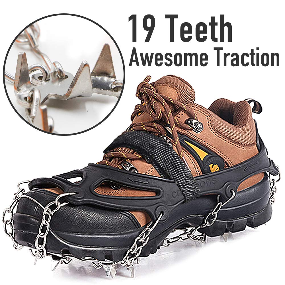 Ice & Snow Cleat Crampons w/Stainless Steel Spikes
