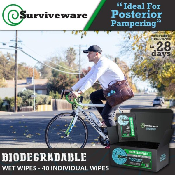 Surviveware Biodegradable Wet Wipes 40 Individually Wrapped Wipes - for Post Workouts, Travel, Bath, and No-Rinse Showers