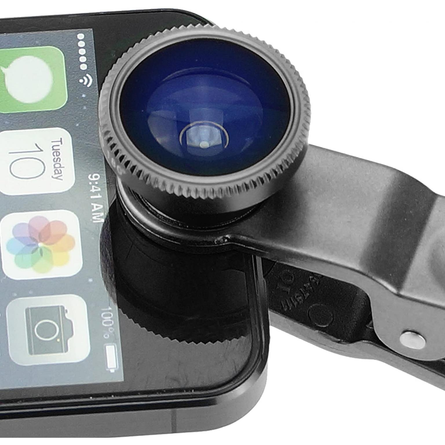 Camkix Universal 3 in 1 Cell Phone Camera Lens Kit - Fish Eye Lens / 2 in 1 Macro Lens & Wide Angle Lens/Universal Clip