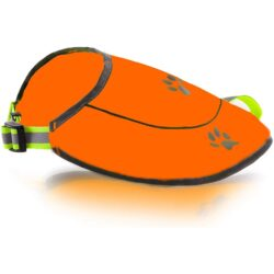 Dog Safety Reflective Vest -Hunting Waterproof Yellow or Orange Vest for Best Visibility at Day and Night with Claps, Connectors Comfortable Adjustable Size