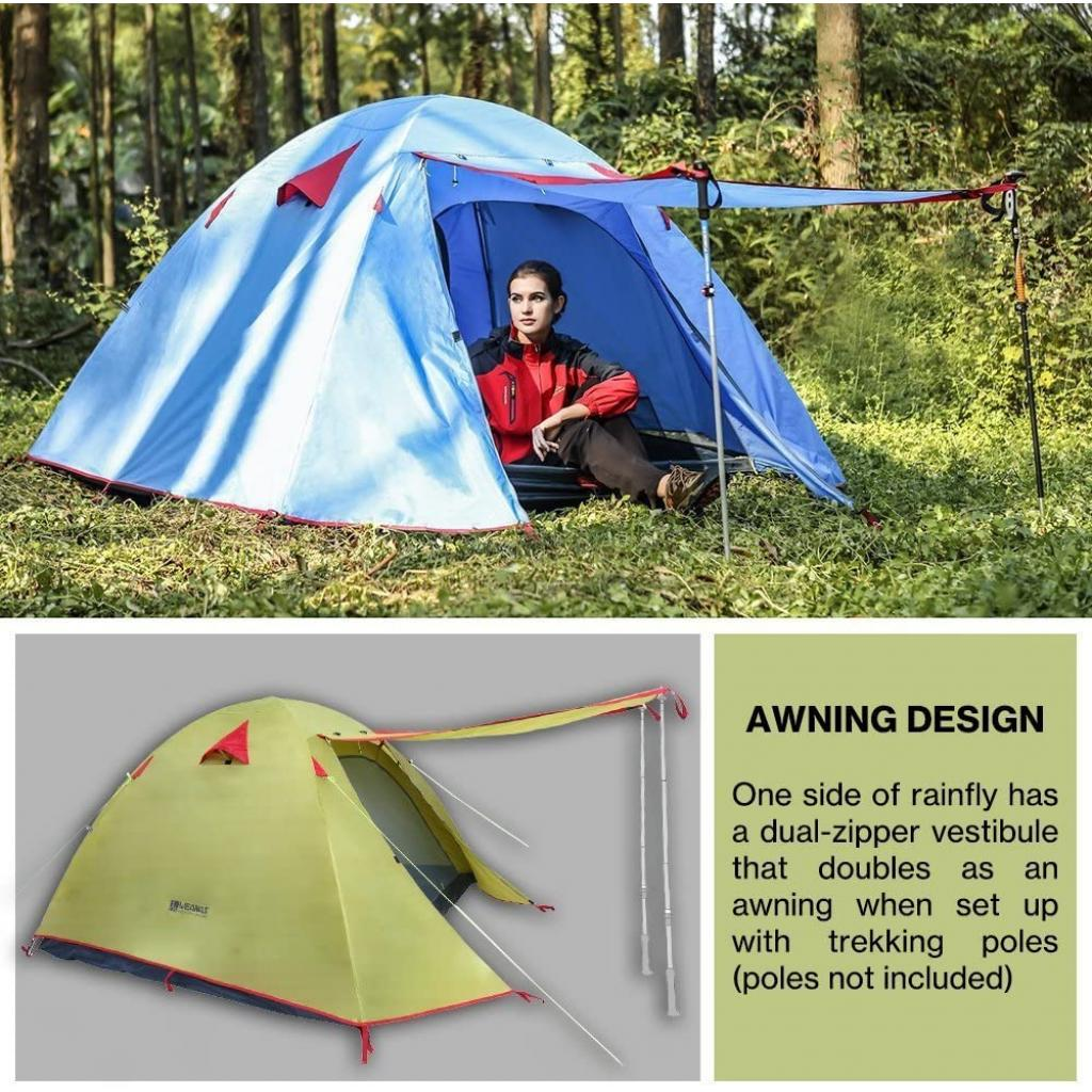 Waterproof Double Layer 2, 3, 4 Person 3 Season Aluminum Rod Double Skylight Outdoor Camping Tent