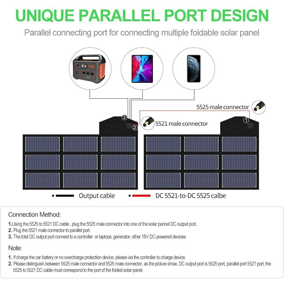 X-DRAGON Solar Charger, 70W Foldable Solar Panel Charger (5V USB with SolarIQ + 18V DC+ Parallel Port)