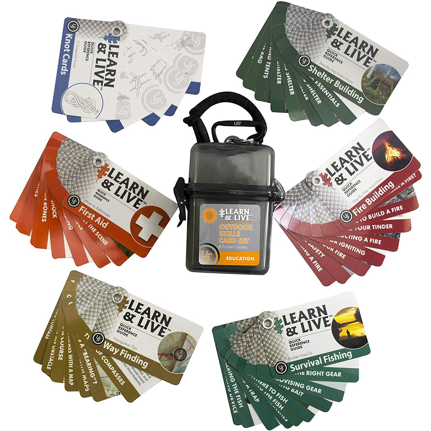 UST Learn & Live Educational Card Set with Durable, Waterproof, Compact Design and Essential Outdoor Skills for Hiking, Camping and Outdoor Survival