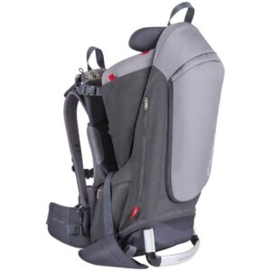 phil&teds Escape Child Carrier Frame Backpack, Charcoal Height Adjustable Body-Tech Harness - Articulating Dual Core Waist Belt Includes Hood, Daypack, Change Mat 30L Storage 2 Year Guarantee