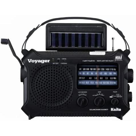 Kaito KA500IP-BLK Voyager Solar/Dynamo AM/FM/SW NOAA Weather Radio with Alert and Cell Phone Charger